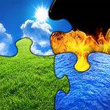 Four elements. Puzzle with four elements gras, sky, fire and water Royalty Free Stock Photo