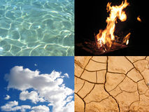 Four elements. Image that represents the four elements: water, fire, air and earth stock photo