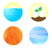 Four elements. Water, ground, fire and wind in the sphere Royalty Free Stock Image