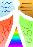 The Four Elements. Colorful vector illustration showing symbols of water, air, earth and fire with a human silhouette integrated Royalty Free Stock Photo