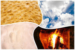 Four elements. The four elements: water, fire, earth and air in one collage Stock Image