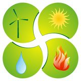 Four elements. Illustration icon of the four elements. Fire, water, air, sun Royalty Free Stock Photo