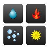 Four Elements. Drop of water, fire, air bubbles, and the flower, which symbolizes the earth. Icons in dark gray squares isolated on white background vector illustration