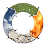 Four elements. Four-arrow symbol representing four natural elements - air, water, fire and earth as cycle Stock Images