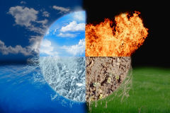 Four elements. Background or wallpaper with four elements theme Stock Images