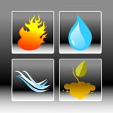 Four elements. Vector illustration icon set of the Four elements. Fire, water, air, earth Stock Image
