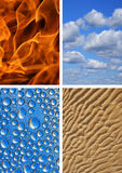 Four elements. Earth, Water, Air, Fire Royalty Free Stock Images