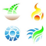 Four elements. Icons: Earth, Fire, Water, Air Stock Photography