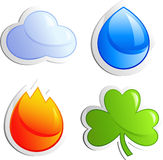 Four elements. Air, water, fire, clover, isolated on white, vector, eps 8 format Royalty Free Stock Photo
