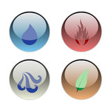 The Four Elements. Vector illustration of the Four Elements of Nature (Earth, Wind, Water, Fire Stock Images