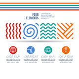 Four elements abstract linear symbols and alternative energy icons. Royalty Free Stock Photo