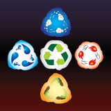 Four elements as recycle signs Stock Image