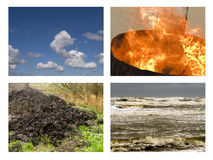 The four elements earth, fire, air and water. Four elements: earth, fire, air and water in a collage Stock Photos