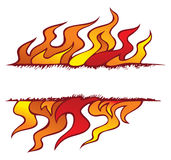 Four elements' frame: fire. Fire, one of the four elements of nature in the shape of ornamental frame, vector illustration Royalty Free Stock Photos