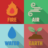Four elements long shadow flat Royalty Free Stock Image