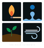 The four elements minimalist icons. Minimalist flat design color icons for the four elements Stock Photography