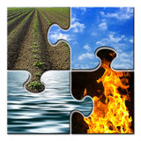 Four elements in a puzzle. Four elements - Earth - Sky - Water - Fire in a puzzle Stock Image