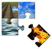 Four elements in a puzzle - Fire apart. Four elements -Earth - Sky - Water - Fire - in a puzzle - Fire apart Royalty Free Stock Image