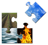 Four elements in a puzzle - sky apart. Four elements - Earth - Sky - Water - Fire - in a puzzle - sky apart Stock Images