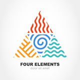 Four elements simple line symbol in pyramid shape. Vector logo d. Esign template. Abstract concept for nature energy, synergy, tourism, travel, business. Fire Royalty Free Stock Photo