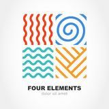 Four elements simple line symbol. Vector logo template. Abstract. Design concept for nature energy, tourism, travel, business, synergy. Fire, air, water and Royalty Free Stock Photo
