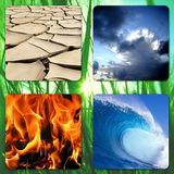 Four Elements in a square. The Four Elements - Earth, Wind, Fire, Water royalty free stock photos