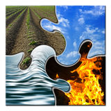 Four elements in a twisted puzzle. Four elements - Earth - Sky - Water - Fire - in a twisted puzzle Stock Photo