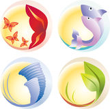 Four Elements (vector). Fire, Water, Air, Ground Stock Images