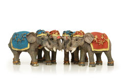 Four elephants isolated Stock Photo