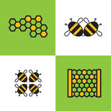 Four emblem or logo beekeeping, honey company or store with the image of bees and honeycomb. Royalty Free Stock Photos