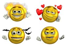 Four Emoticons-5 - with clipping path. 3D render of four emoticons: 'Fired Up', 'In Love', 'Going Batty' and Crabby Royalty Free Stock Image