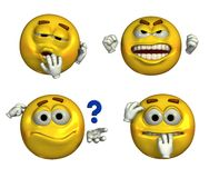 Four Emoticons - with clipping path. Four emoticons depicting sleepy, frustrated, questioning and nervous faces Royalty Free Stock Images
