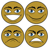 Four Emoticons. Vector illustration depicting four faces of man Royalty Free Stock Photo