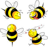 Four emotion bee. Comic character Stock Photo