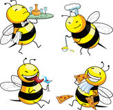 Four emotion bee. Comic character Royalty Free Stock Photos