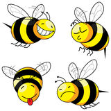 Four emotion bee comic. Character (series stock illustration