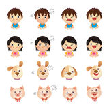 Four emotions. Cartoon boy, girl, dog and cat with 4 different emotions, its lovely and fun royalty free illustration