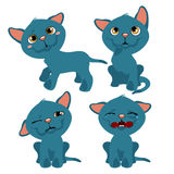 Four emotions of, cats, animal cartoon Stock Images
