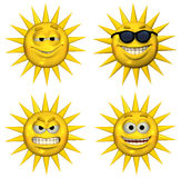 Four EmotiSuns Royalty Free Stock Images