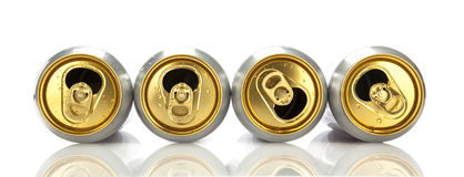 Four empty beer cans Royalty Free Stock Photo