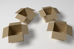 Four Empty Boxes. Empty Boxes on white ground. 3D rendered with soft shadows. Fine grain added to remove color banding. High Resolution Image Stock Image
