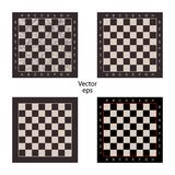 Four empty chess boards on isolated white background. Grunge effect, scuffs, scratched. Boards for intellectual games checkers, ch vector illustration