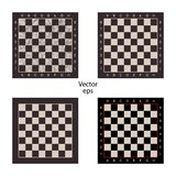 Four empty chess boards on isolated white background. Scuffs, scratched. Boards for intellectual games checkers, chess. Vector. stock illustration