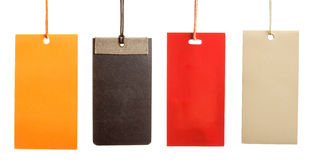 Four empty paper tags isolated Royalty Free Stock Photography
