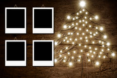 Four empty photo frames,Christmas rustic card Royalty Free Stock Photography
