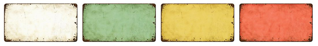 Free Four Empty Vintage Tin Signs On A White Background Royalty Free Stock Photography - 162743607