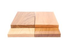 Four ends boards (acacia, oak, elm, lime). Four emds boards (acacia, oak, elm, lime) on a white background Royalty Free Stock Image