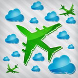 Four-engine jet airliners in air with blue clouds Royalty Free Stock Photos