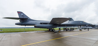 A four-engine supersonic variable-sweep wing, jet-powered heavy strategic bomber Rockwell B-1B Lancer. BERLIN, GERMANY - JUNE 01, 2016: A four-engine supersonic Royalty Free Stock Photography