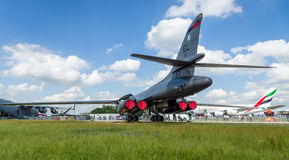 A four-engine supersonic variable-sweep wing, jet-powered heavy strategic bomber Rockwell B-1B Lancer. BERLIN, GERMANY - JUNE 02, 2016: A four-engine supersonic Stock Photography